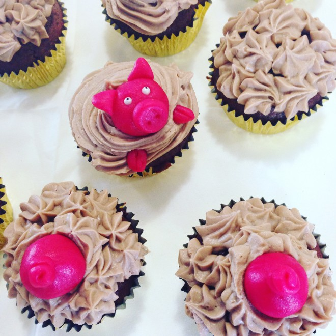 Schweinchen Schoko-Cupcakes