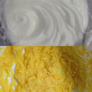 Oben: Glänzender Eischnee Unten: Butter-Zucker-Masse