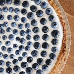 Mürbeteig mit feiner Joghurt-Rahm-Creme und frischen Beeren, z.B. Heidelbeeren.